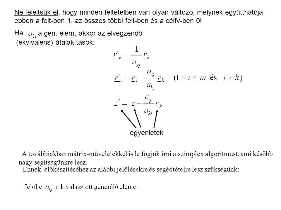 Ne felejtsük el, hogy minden feltételben van olyan változó, melynek együtthatója ebben a felt-ben 1, az összes többi felt-ben és a célfv-ben 0.