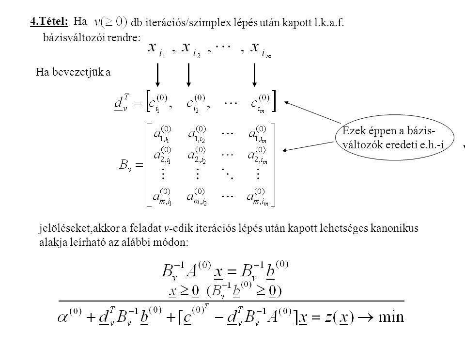 4.Tétel: Ha db iterációs/szimplex lépés után kapott l.k.a.f.