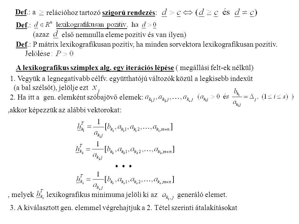 Def.: a relációhoz tartozó szigorú rendezés: Def.: (azaz első nemnulla eleme pozitív és van ilyen) Def.: P mátrix lexikografikusan pozitív, ha minden sorvektora lexikografikusan pozitív.