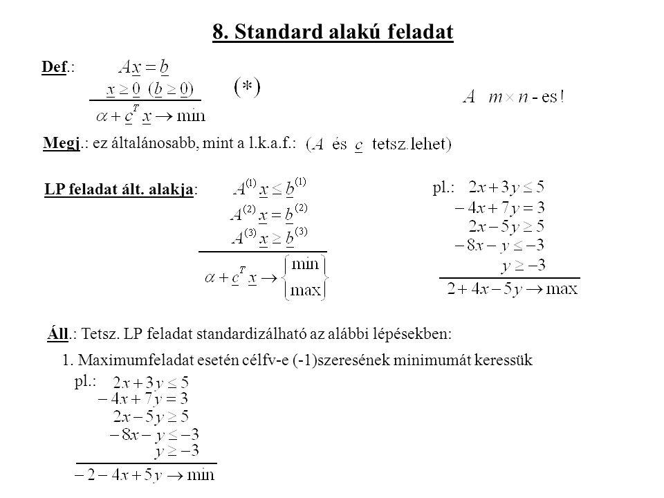 8.Standard alakú feladat Def.: Megj.: ez általánosabb, mint a l.k.a.f.: LP feladat ált.