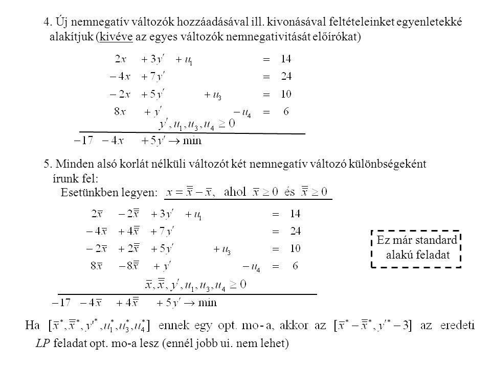 4.Új nemnegatív változók hozzáadásával ill.