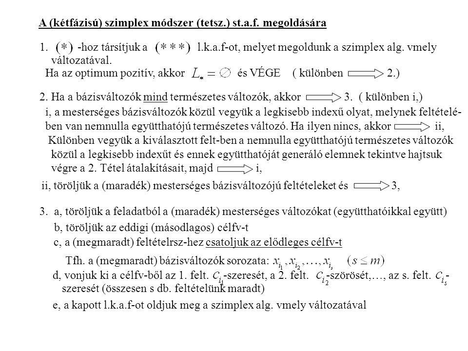 A (kétfázisú) szimplex módszer (tetsz.) st.a.f.megoldására 1.
