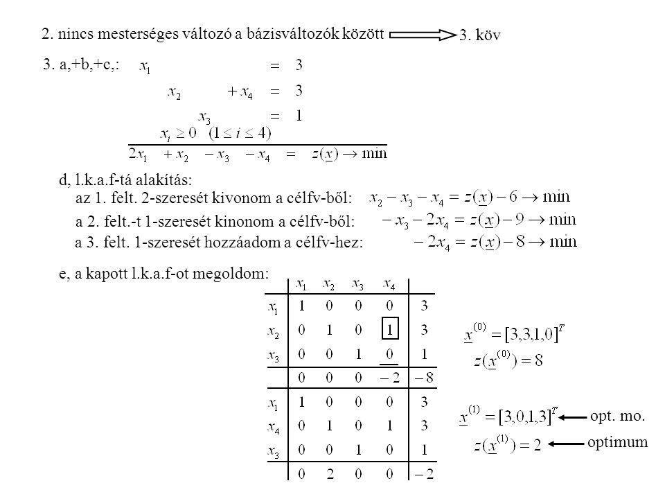 2.nincs mesterséges változó a bázisváltozók között 3.