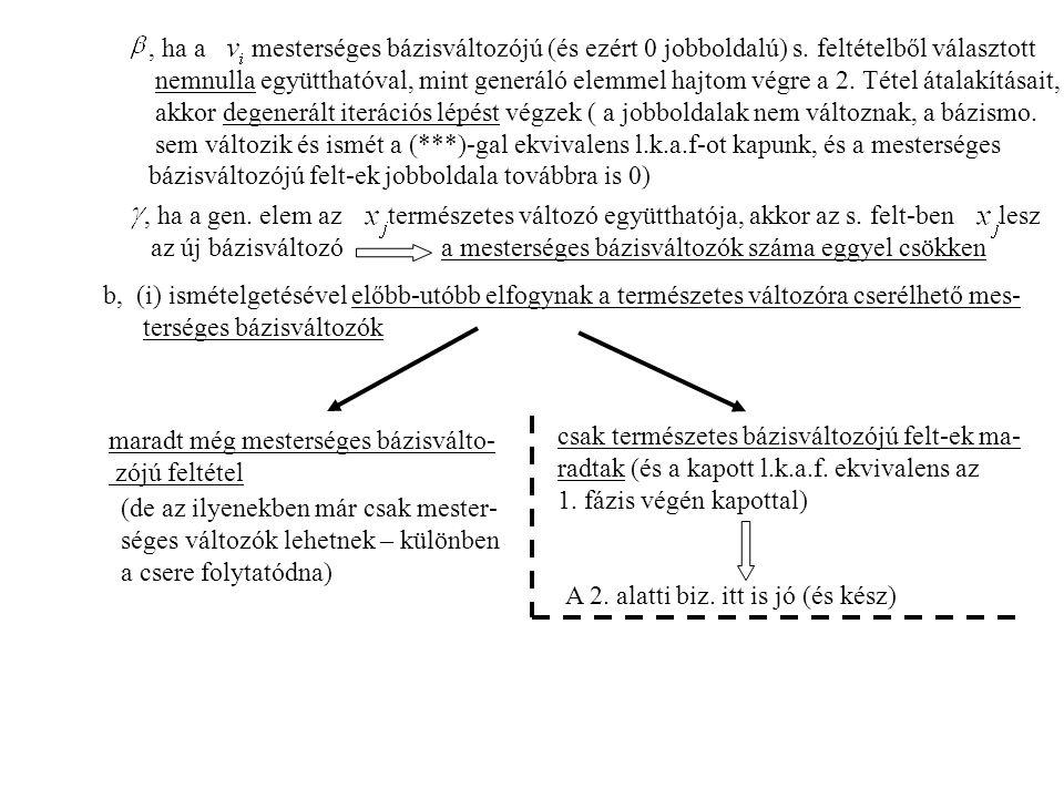, ha a mesterséges bázisváltozójú (és ezért 0 jobboldalú) s.