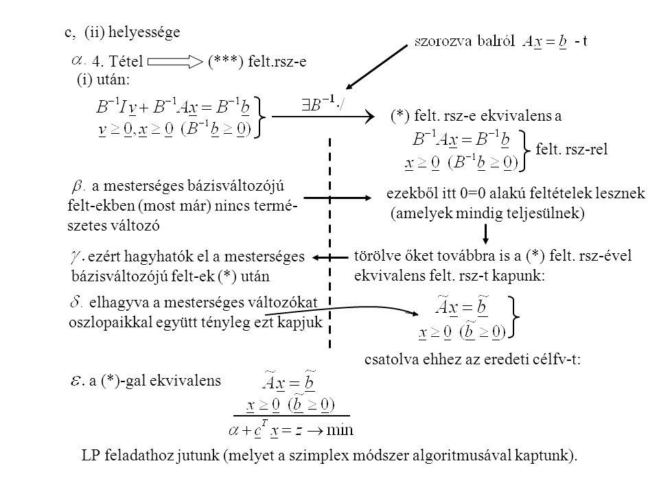 c, (ii) helyessége 4.Tétel (***) felt.rsz-e (i) után: (*) felt.