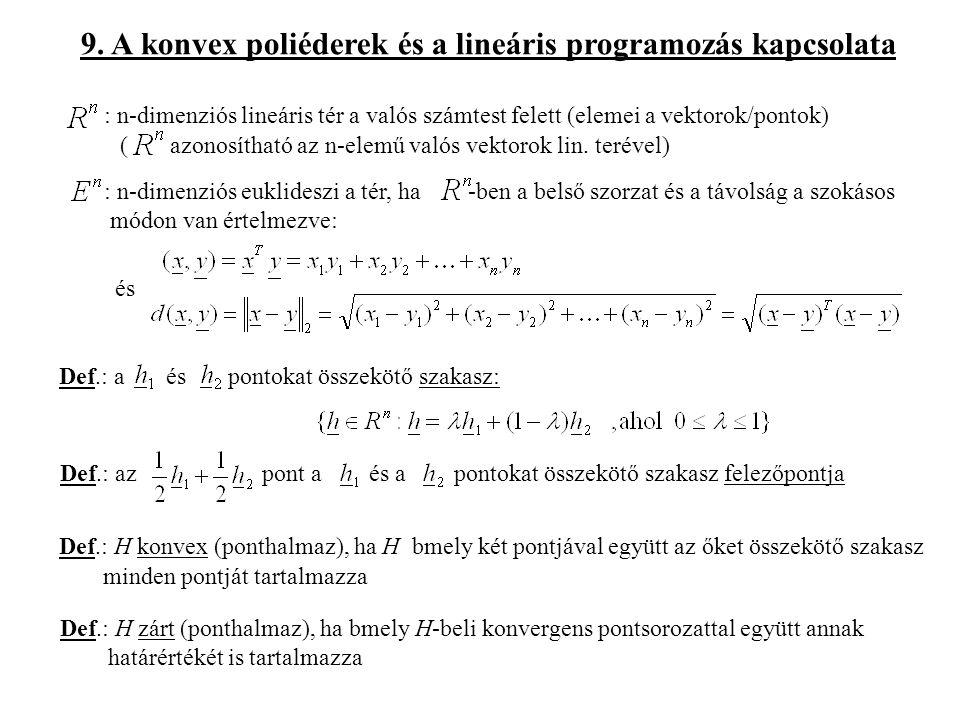 9. A konvex poliéderek és a lineáris programozás kapcsolata : n-dimenziós lineáris tér a valós számtest felett (elemei a vektorok/pontok) ( azonosítha