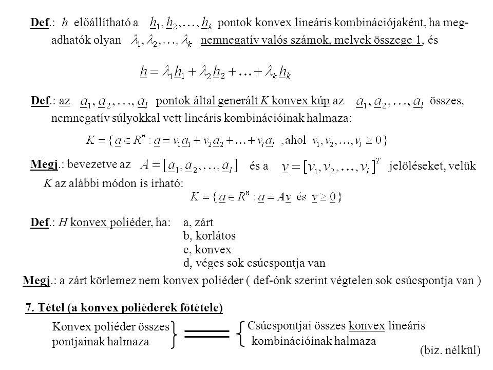 Def.: h előállítható a pontok konvex lineáris kombinációjaként, ha meg- adhatók olyan nemnegatív valós számok, melyek összege 1, és Def.: az pontok által generált K konvex kúp az összes, nemnegatív súlyokkal vett lineáris kombinációinak halmaza: Megj.: bevezetve az és ajelöléseket, velük K az alábbi módon is írható: Def.: H konvex poliéder, ha: a, zárt b, korlátos c, konvex d, véges sok csúcspontja van Megj.: a zárt körlemez nem konvex poliéder ( def-ónk szerint végtelen sok csúcspontja van ) 7.