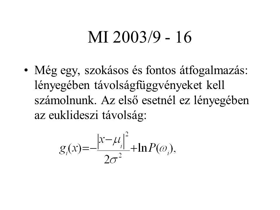 MI 2003/9 - 16 Még egy, szokásos és fontos átfogalmazás: lényegében távolságfüggvényeket kell számolnunk. Az első esetnél ez lényegében az euklideszi