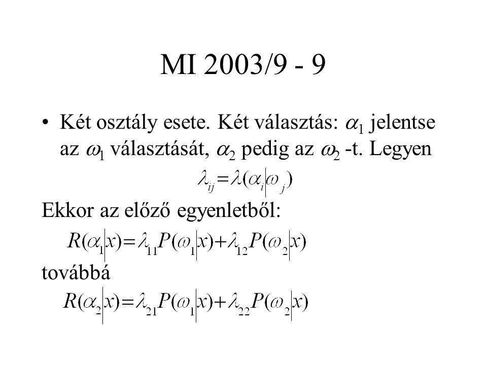 MI 2003/9 - 9 Két osztály esete. Két választás:  1 jelentse az  1 választását,  2 pedig az  2 -t. Legyen Ekkor az előző egyenletből: továbbá