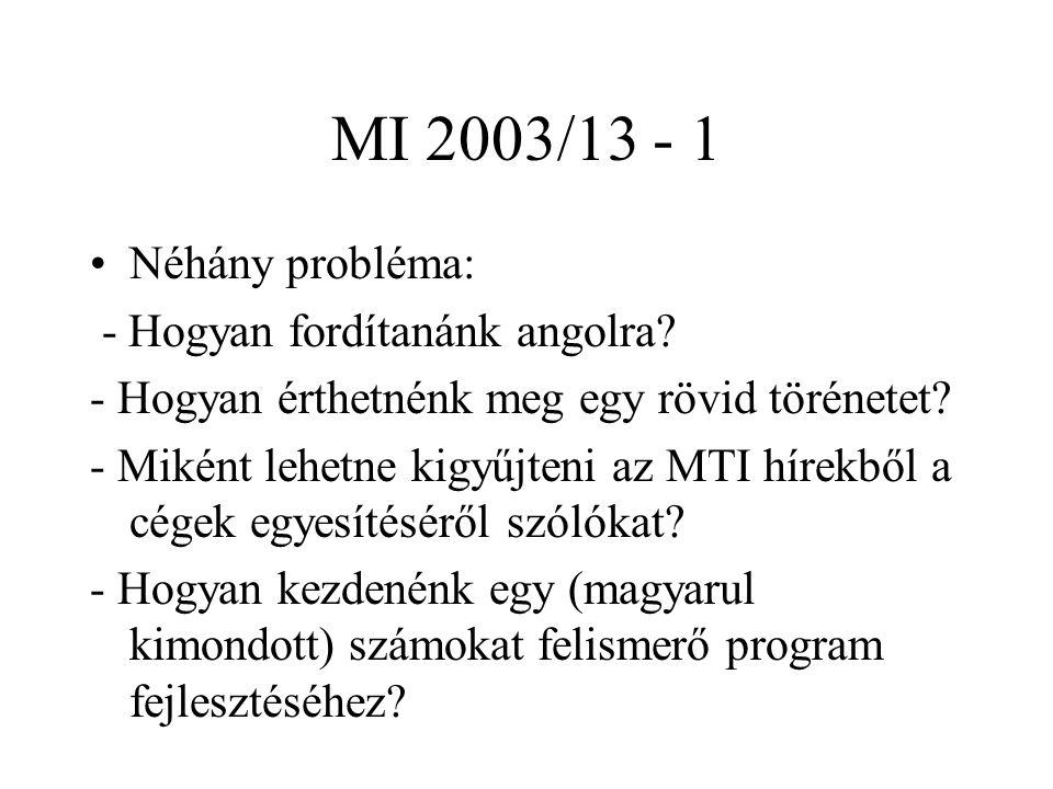 MI 2003/13 - 1 Néhány probléma: - Hogyan fordítanánk angolra? - Hogyan érthetnénk meg egy rövid törénetet? - Miként lehetne kigyűjteni az MTI hírekből
