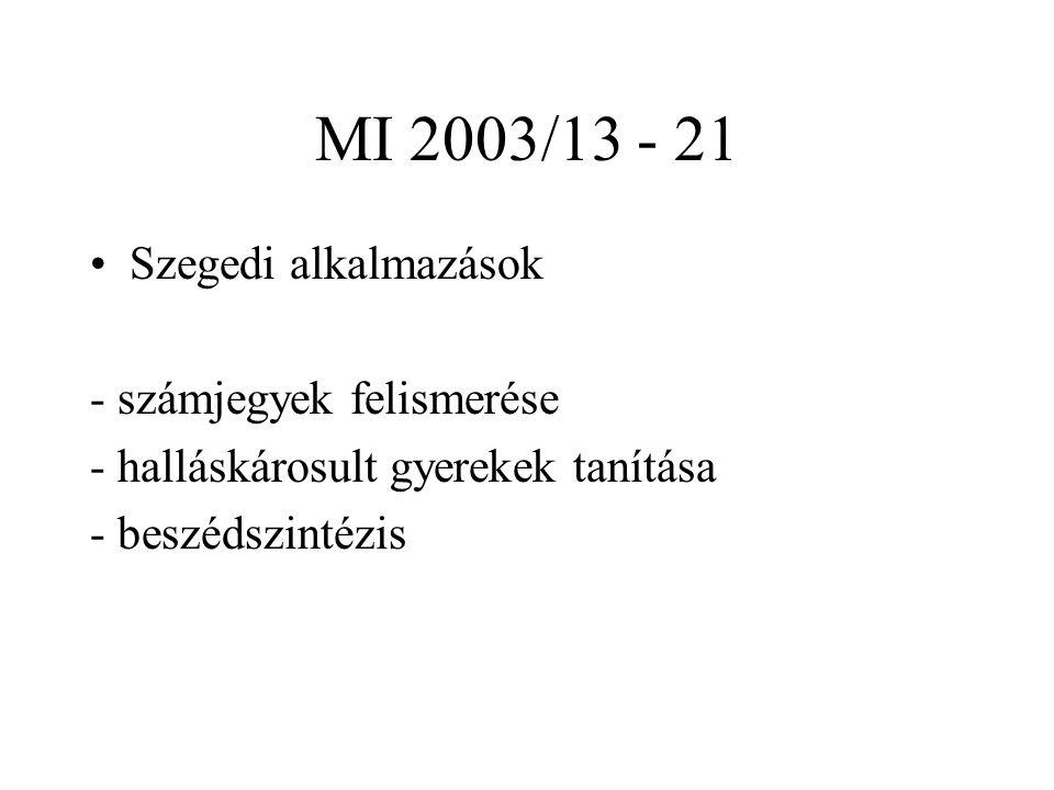 MI 2003/13 - 21 Szegedi alkalmazások - számjegyek felismerése - halláskárosult gyerekek tanítása - beszédszintézis