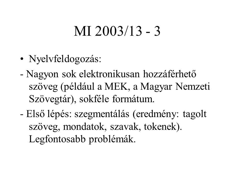MI 2003/13 - 3 Nyelvfeldogozás: - Nagyon sok elektronikusan hozzáférhető szöveg (például a MEK, a Magyar Nemzeti Szövegtár), sokféle formátum. - Első