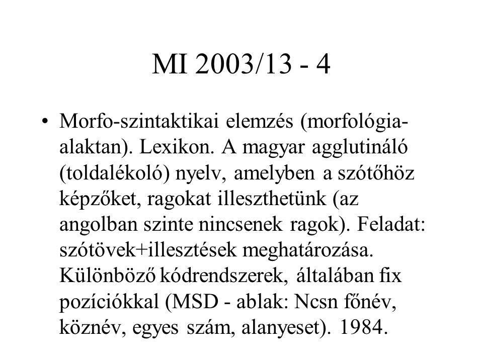 MI 2003/13 - 4 Morfo-szintaktikai elemzés (morfológia- alaktan). Lexikon. A magyar agglutináló (toldalékoló) nyelv, amelyben a szótőhöz képzőket, rago