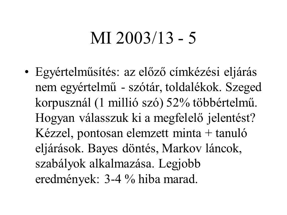 MI 2003/13 - 5 Egyértelműsítés: az előző címkézési eljárás nem egyértelmű - szótár, toldalékok. Szeged korpusznál (1 millió szó) 52% többértelmű. Hogy