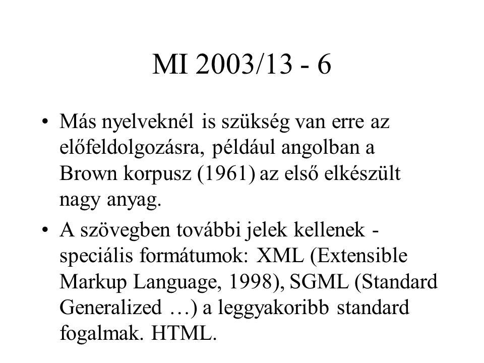 MI 2003/13 - 6 Más nyelveknél is szükség van erre az előfeldolgozásra, például angolban a Brown korpusz (1961) az első elkészült nagy anyag. A szövegb