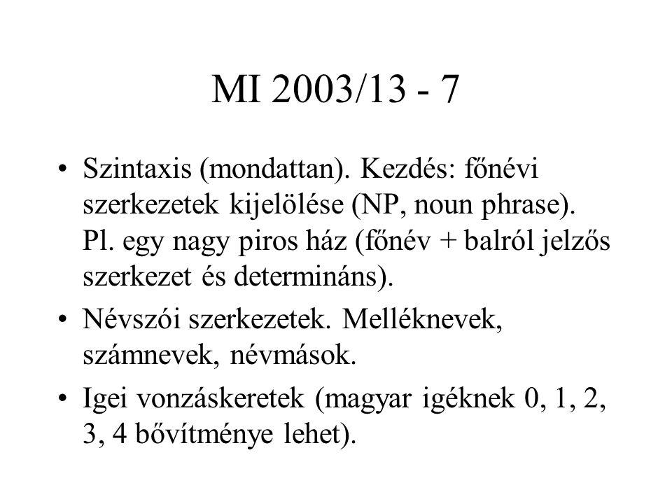 MI 2003/13 - 7 Szintaxis (mondattan). Kezdés: főnévi szerkezetek kijelölése (NP, noun phrase). Pl. egy nagy piros ház (főnév + balról jelzős szerkezet