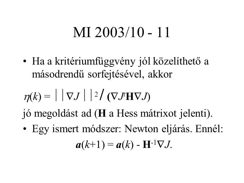 MI 2003/10 - 11 Ha a kritériumfüggvény jól közelíthető a másodrendű sorfejtésével, akkor  (k) =  J  2 / (  J t H  J) jó megoldást ad (H a Hess mátrixot jelenti).