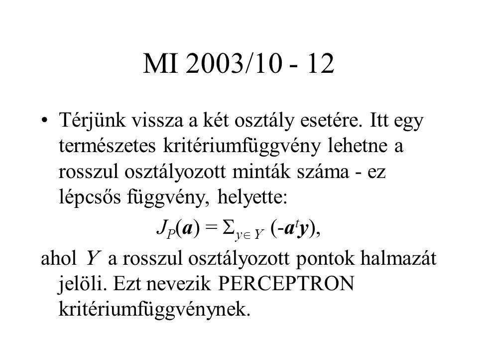 MI 2003/10 - 12 Térjünk vissza a két osztály esetére.