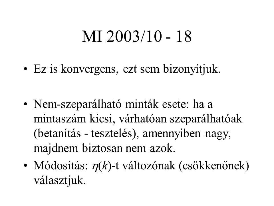 MI 2003/10 - 18 Ez is konvergens, ezt sem bizonyítjuk.