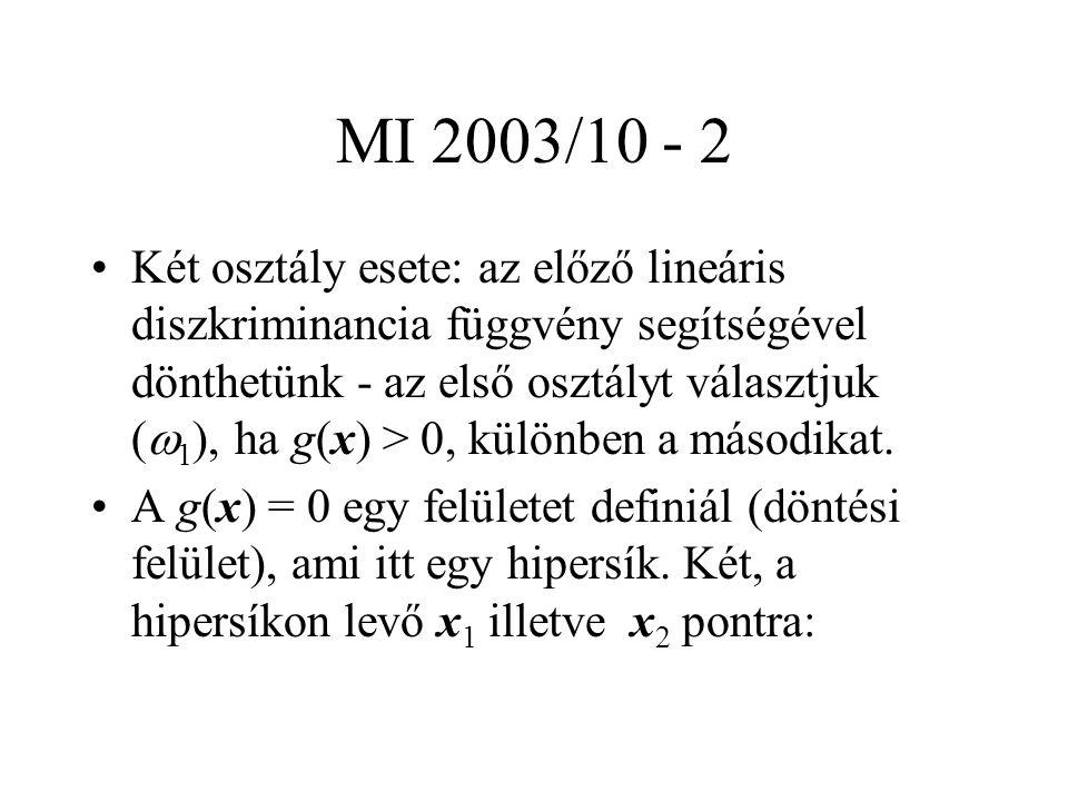 MI 2003/10 - 2 Két osztály esete: az előző lineáris diszkriminancia függvény segítségével dönthetünk - az első osztályt választjuk (  1 ), ha g(x) > 0, különben a másodikat.