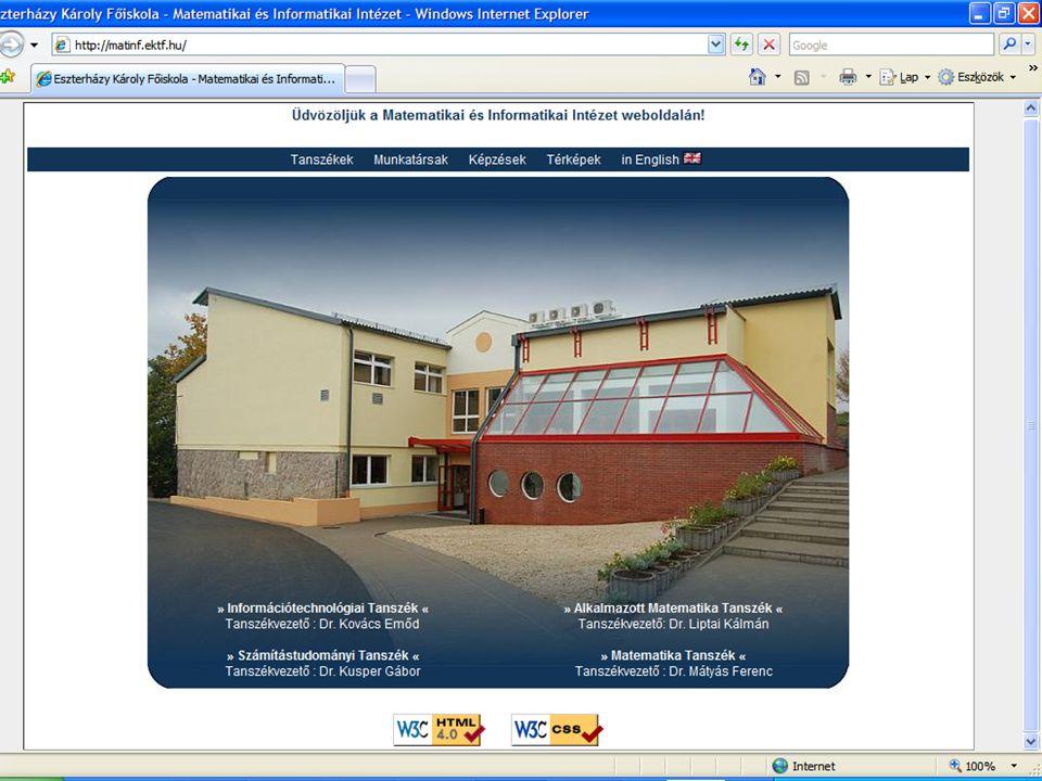 Matematikai és Informatikai Intézet - http://matinf.ektf.hu