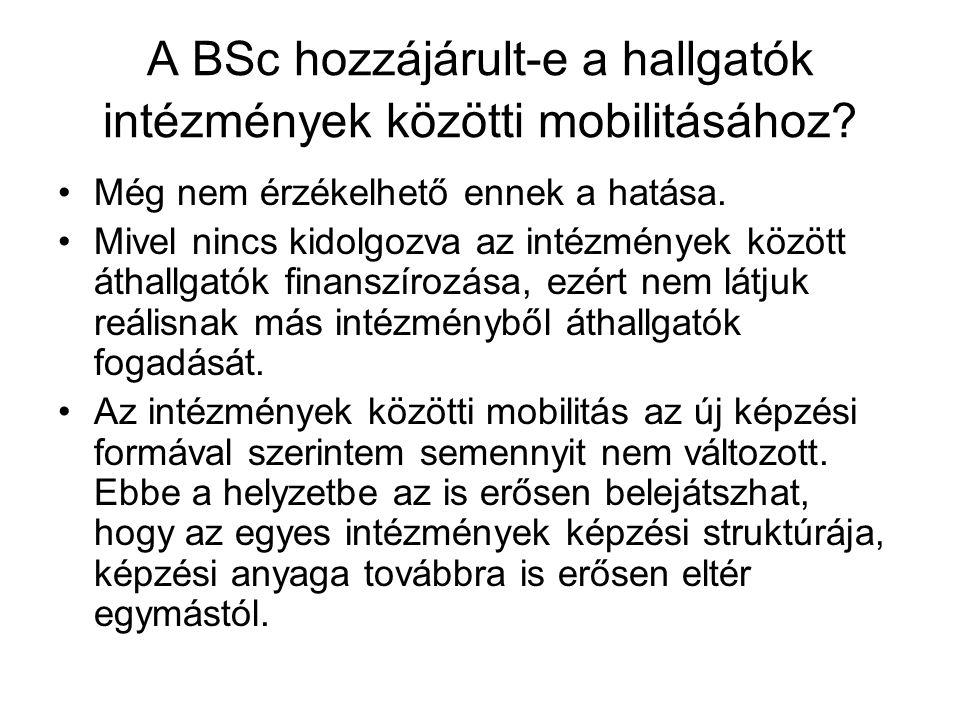 A BSc hozzájárult-e a hallgatók intézmények közötti mobilitásához? Még nem érzékelhető ennek a hatása. Mivel nincs kidolgozva az intézmények között át
