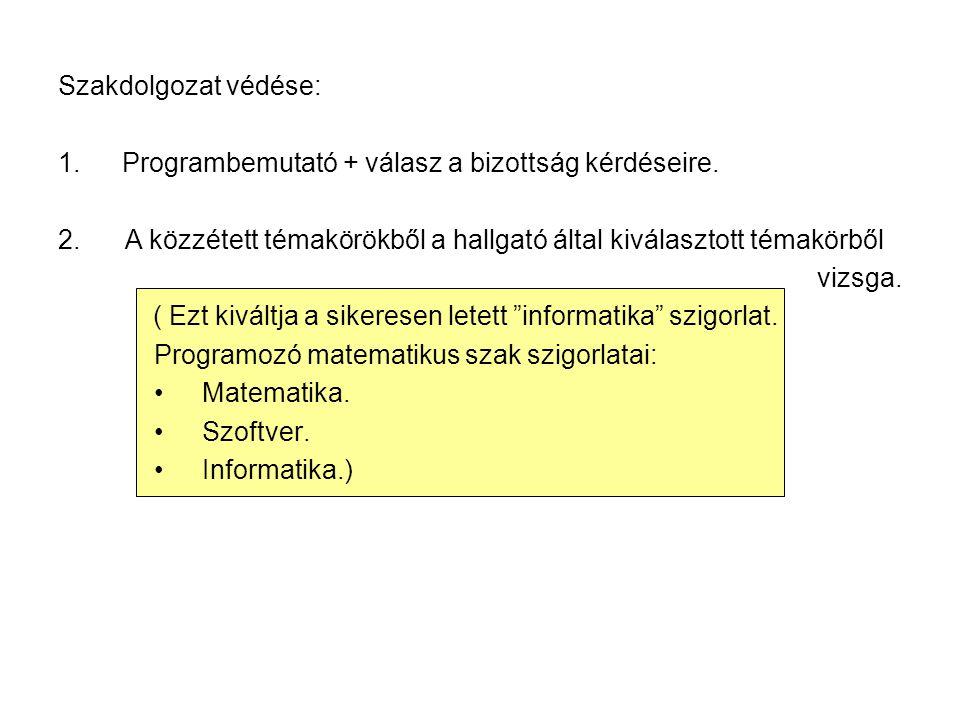Szakdolgozat védése: 1.Programbemutató + válasz a bizottság kérdéseire.