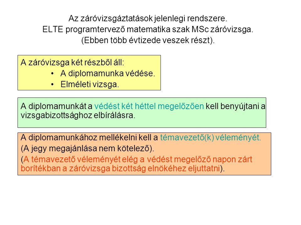 Az záróvizsgáztatások jelenlegi rendszere.ELTE programtervező matematika szak MSc záróvizsga.