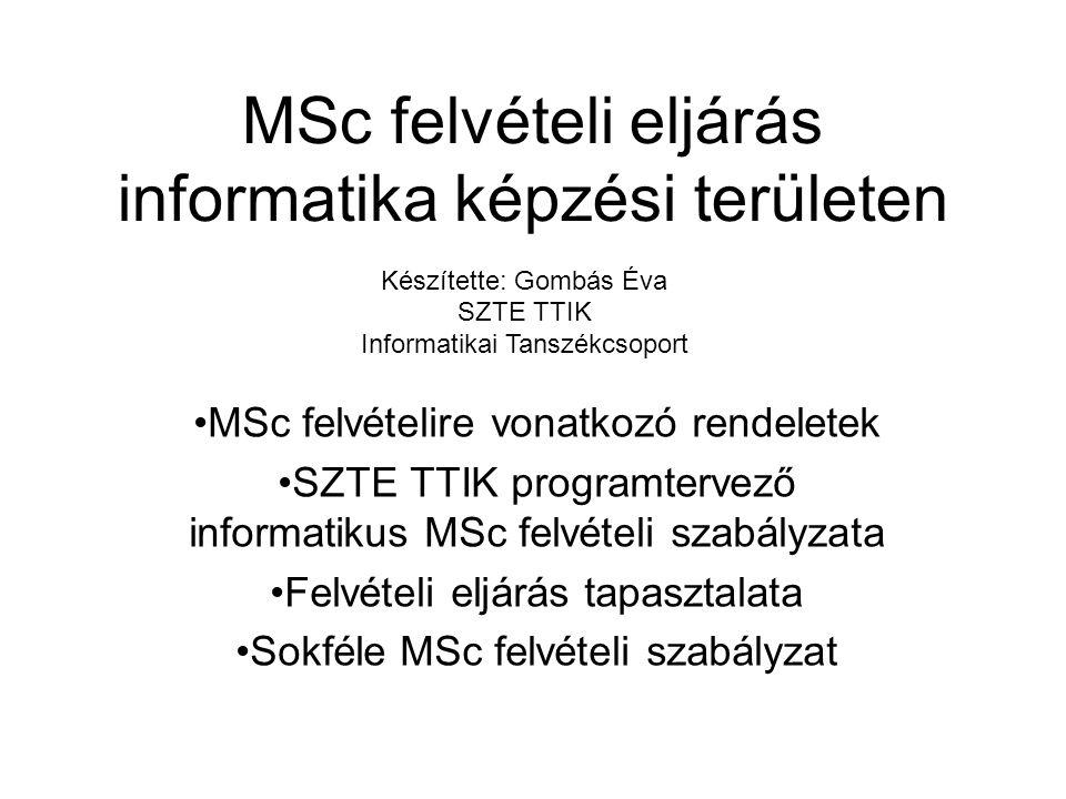 MSc felvételi eljárás informatika képzési területen MSc felvételire vonatkozó rendeletek SZTE TTIK programtervező informatikus MSc felvételi szabályzata Felvételi eljárás tapasztalata Sokféle MSc felvételi szabályzat Készítette: Gombás Éva SZTE TTIK Informatikai Tanszékcsoport