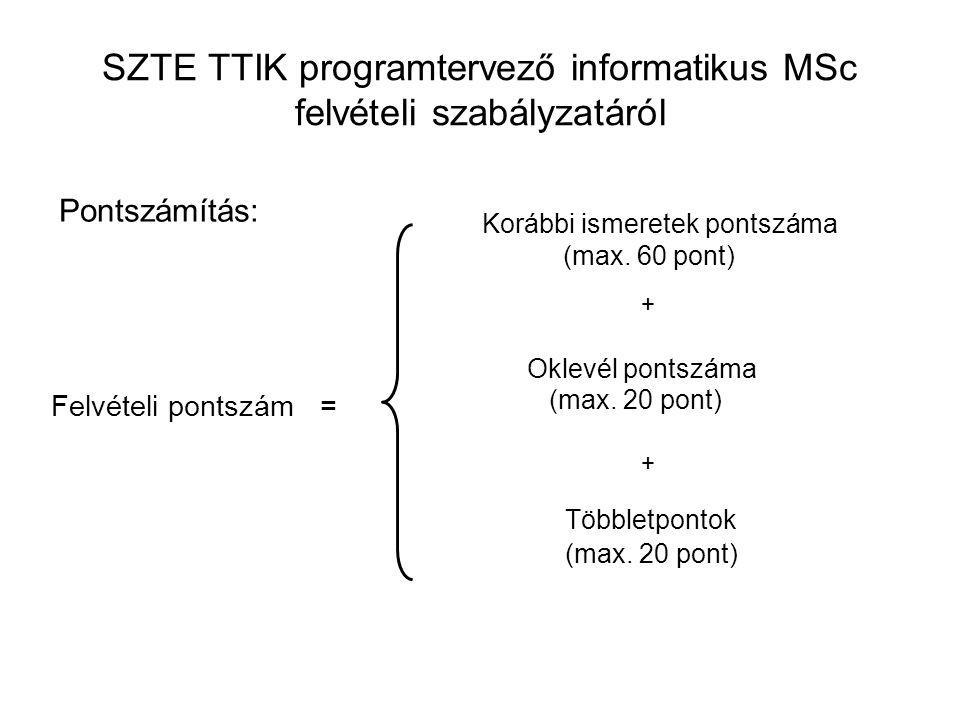 SZTE TTIK programtervező informatikus MSc felvételi szabályzatáról Pontszámítás: Felvételi pontszám = Korábbi ismeretek pontszáma (max. 60 pont) + Okl