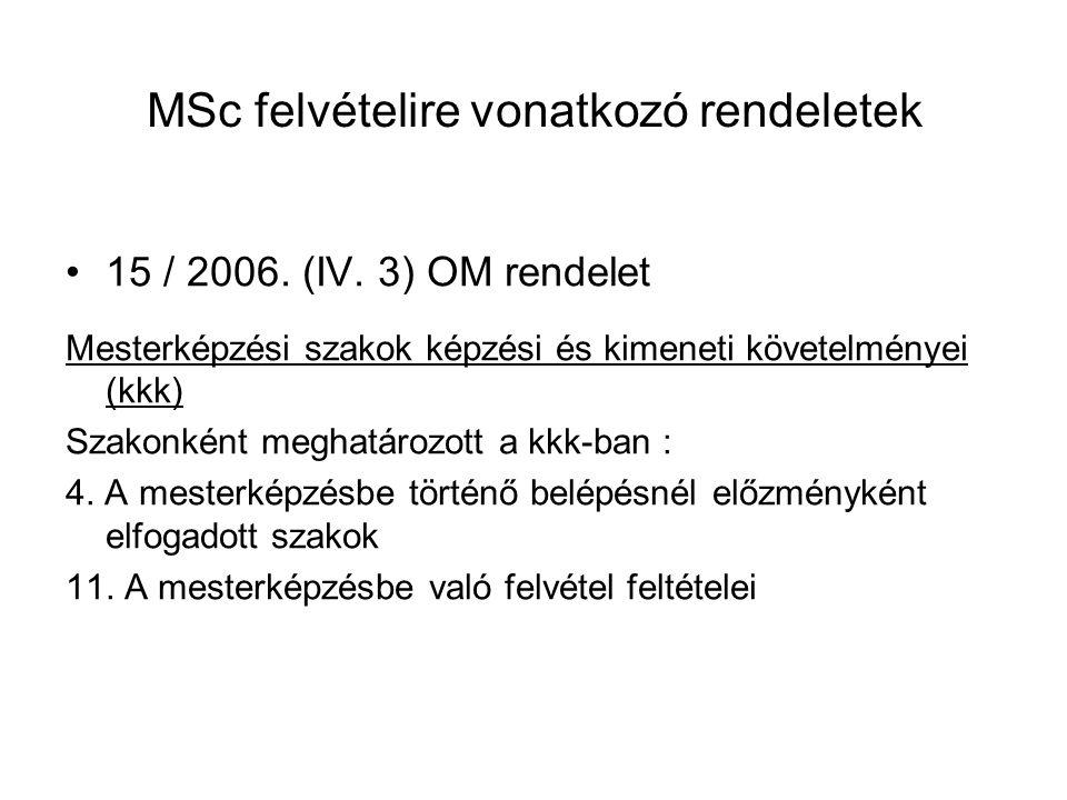 MSc felvételire vonatkozó rendeletek 15 / 2006. (IV. 3) OM rendelet Mesterképzési szakok képzési és kimeneti követelményei (kkk) Szakonként meghatároz