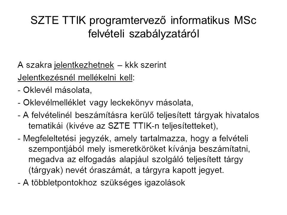 SZTE TTIK programtervező informatikus MSc felvételi szabályzatáról A szakra jelentkezhetnek – kkk szerint Jelentkezésnél mellékelni kell: - Oklevél másolata, - Oklevélmelléklet vagy leckekönyv másolata, - A felvételinél beszámításra kerülő teljesített tárgyak hivatalos tematikái (kivéve az SZTE TTIK-n teljesítetteket), - Megfeleltetési jegyzék, amely tartalmazza, hogy a felvételi szempontjából mely ismeretköröket kívánja beszámítatni, megadva az elfogadás alapjául szolgáló teljesített tárgy (tárgyak) nevét óraszámát, a tárgyra kapott jegyet.