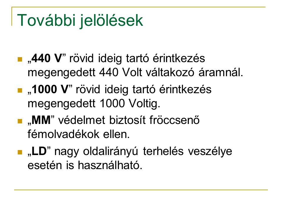 """További jelölések """"440 V rövid ideig tartó érintkezés megengedett 440 Volt váltakozó áramnál."""
