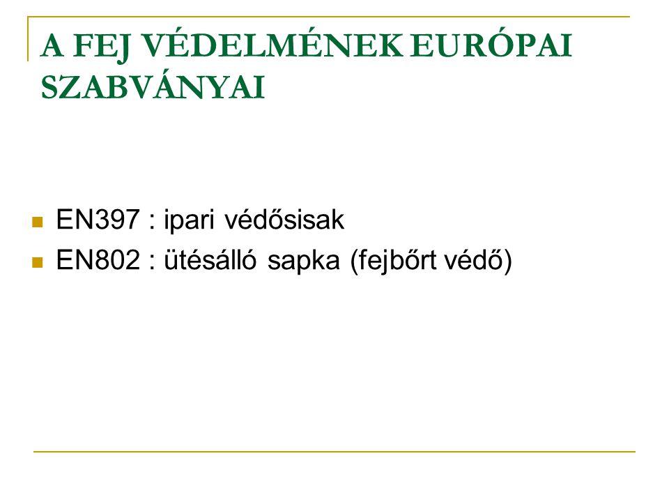 EN 397 SZABVÁNY IPARI VÉDŐSISAKOK Az EN397 szabvány, amely az ipari védősisakokra vonatkozik, a következőkben leírtakat követeli meg a jelölést illetően: Minden sisaknak rendelkeznie kell matricázott vagy nyomtatott jelöléssel, a következő jelöléseket tartalmazva:  jelen európai szabvány száma  a gyártó neve vagy azonosító jele  a gyártási és negyedév  a sisak típusa  a méret vagy méretfelület Az olyan kiegészítő útbaigazítások, mint utasítások vagy szabályozási, szerelési, felhasználási, tisztítási fertőtlenítési, karbantartási, felülvizsgálati, raktározási javaslatok a használati jegyzékben kerülnek specifikálásra.