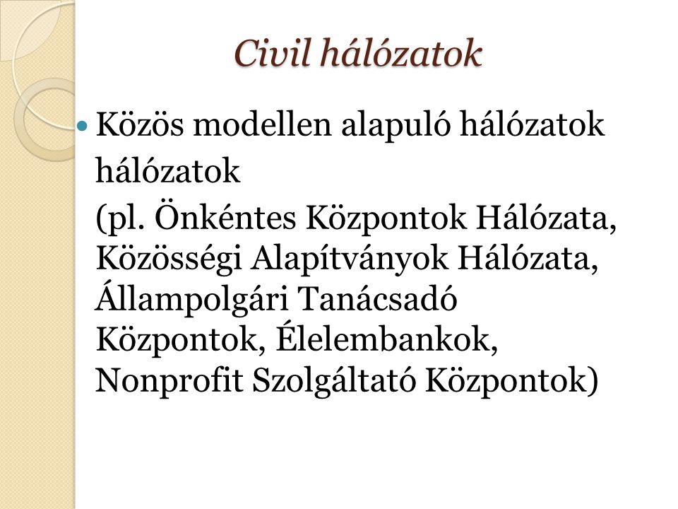 Civil hálózatok Közös modellen alapuló hálózatok hálózatok (pl.