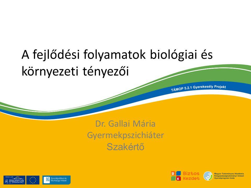 A fejlődési folyamatok biológiai és környezeti tényezői Dr. Gallai Mária Gyermekpszichiáter Szakértő