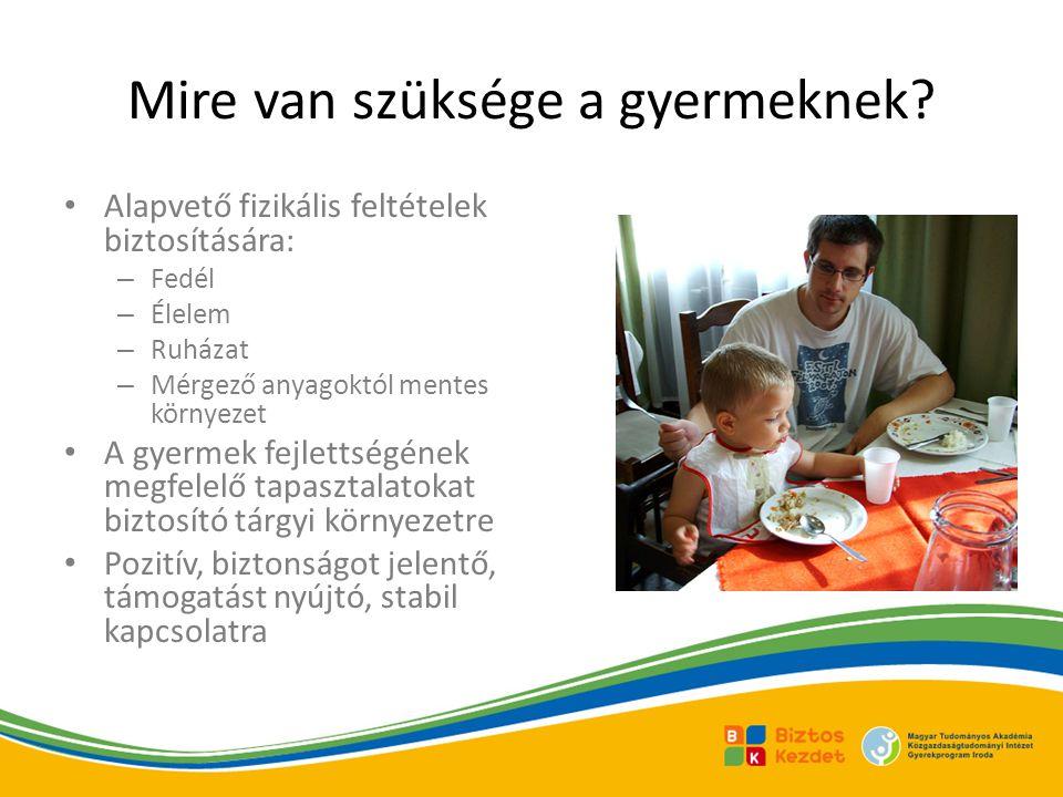 Mire van szüksége a gyermeknek? Alapvető fizikális feltételek biztosítására: – Fedél – Élelem – Ruházat – Mérgező anyagoktól mentes környezet A gyerme
