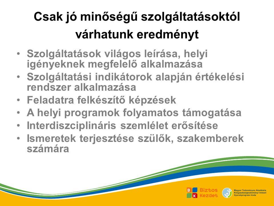 Csak jó minőségű szolgáltatásoktól várhatunk eredményt Szolgáltatások világos leírása, helyi igényeknek megfelelő alkalmazása Szolgáltatási indikátorok alapján értékelési rendszer alkalmazása Feladatra felkészítő képzések A helyi programok folyamatos támogatása Interdiszciplináris szemlélet erősítése Ismeretek terjesztése szülők, szakemberek számára