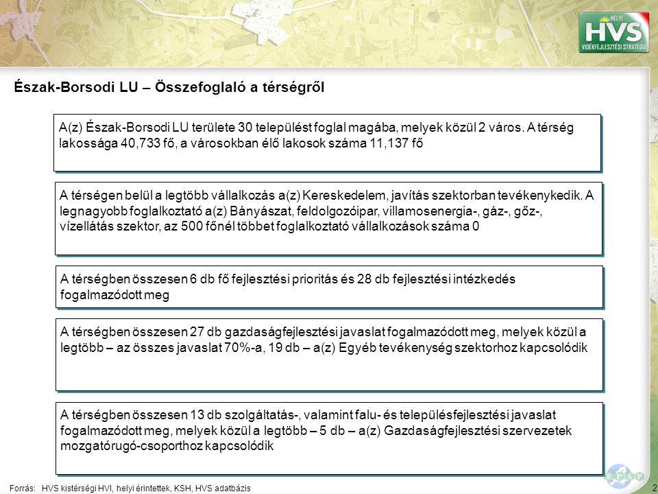 2 Forrás:HVS kistérségi HVI, helyi érintettek, KSH, HVS adatbázis Észak-Borsodi LU – Összefoglaló a térségről A térségen belül a legtöbb vállalkozás a