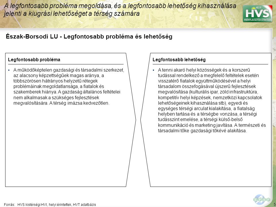 5 Észak-Borsodi LU - Legfontosabb probléma és lehetőség A legfontosabb probléma megoldása, és a legfontosabb lehetőség kihasználása jelenti a kiugrási