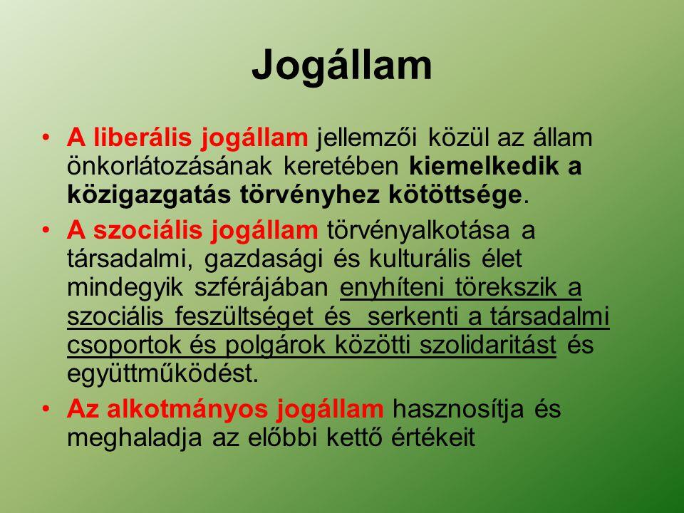 A liberális jogállam jellemzői közül az állam önkorlátozásának keretében kiemelkedik a közigazgatás törvényhez kötöttsége.