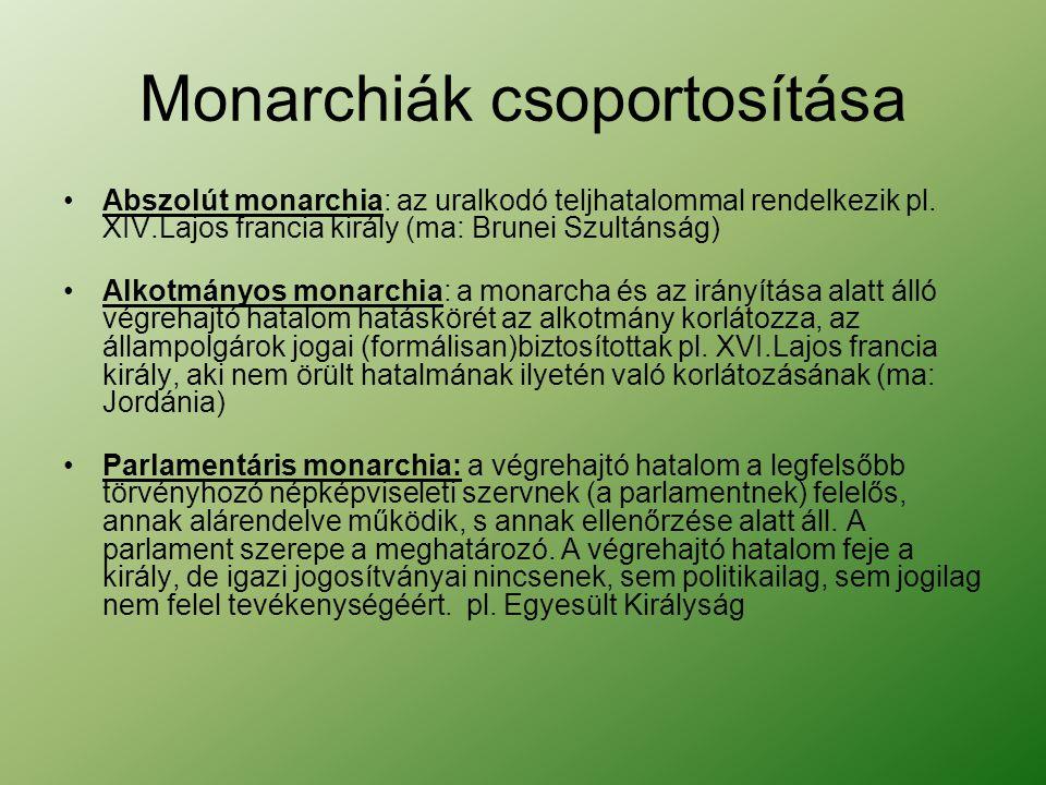 Monarchiák csoportosítása Abszolút monarchia: az uralkodó teljhatalommal rendelkezik pl.