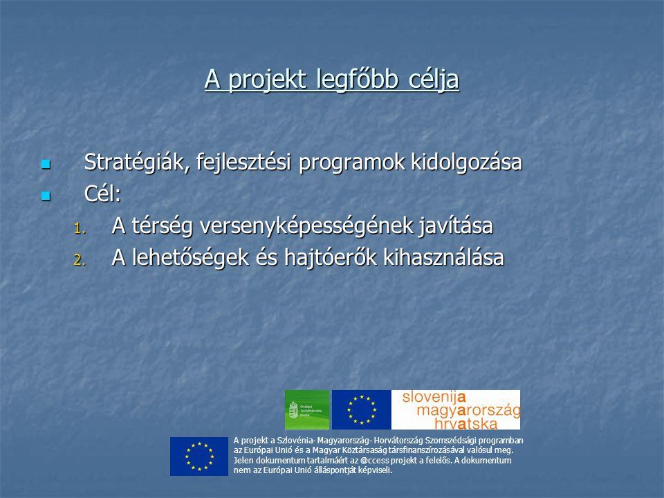 A projekt legfőbb célja Stratégiák, fejlesztési programok kidolgozása Stratégiák, fejlesztési programok kidolgozása Cél: Cél: 1.