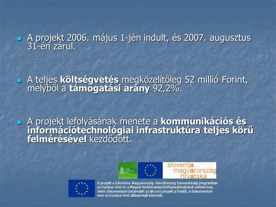 A projekt 2006.május 1-jén indult, és 2007. augusztus 31-én zárul.