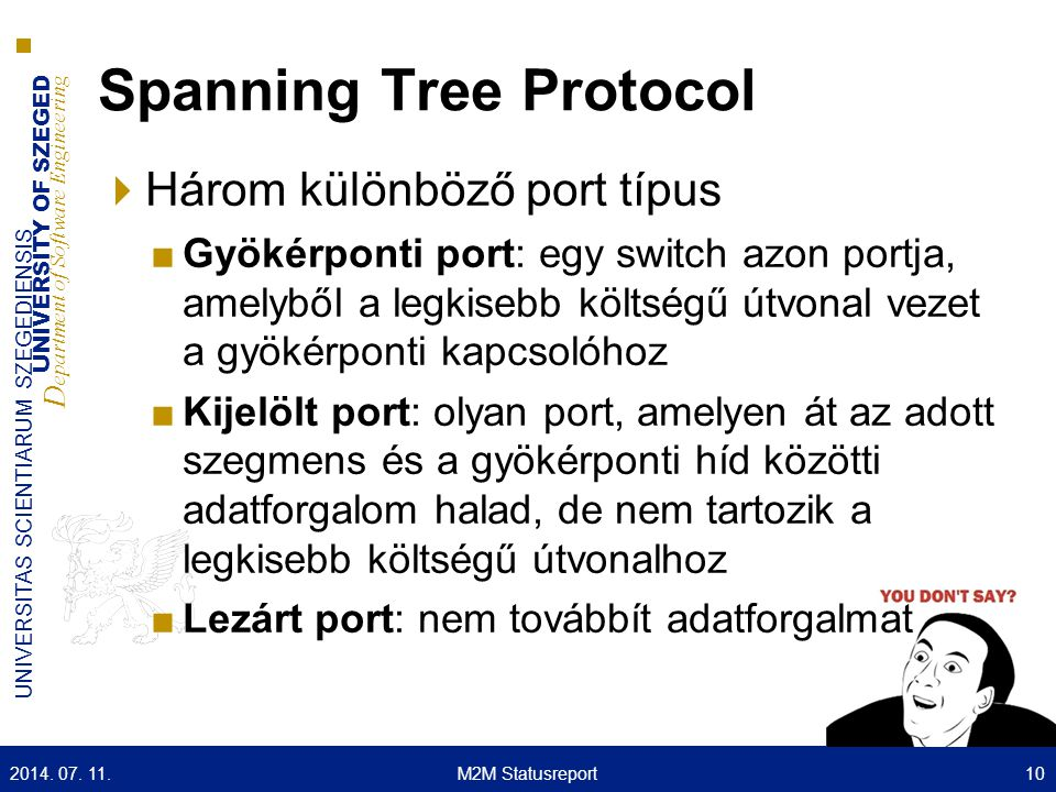 UNIVERSITY OF SZEGED D epartment of Software Engineering UNIVERSITAS SCIENTIARUM SZEGEDIENSIS Spanning Tree Protocol  Három különböző port típus ■Gyö