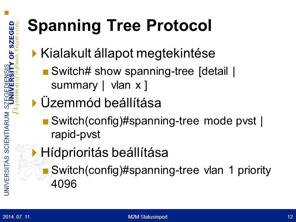 UNIVERSITY OF SZEGED D epartment of Software Engineering UNIVERSITAS SCIENTIARUM SZEGEDIENSIS Spanning Tree Protocol  Kialakult állapot megtekintése