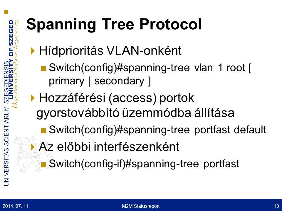 UNIVERSITY OF SZEGED D epartment of Software Engineering UNIVERSITAS SCIENTIARUM SZEGEDIENSIS Spanning Tree Protocol  Hídprioritás VLAN-onként ■Switc