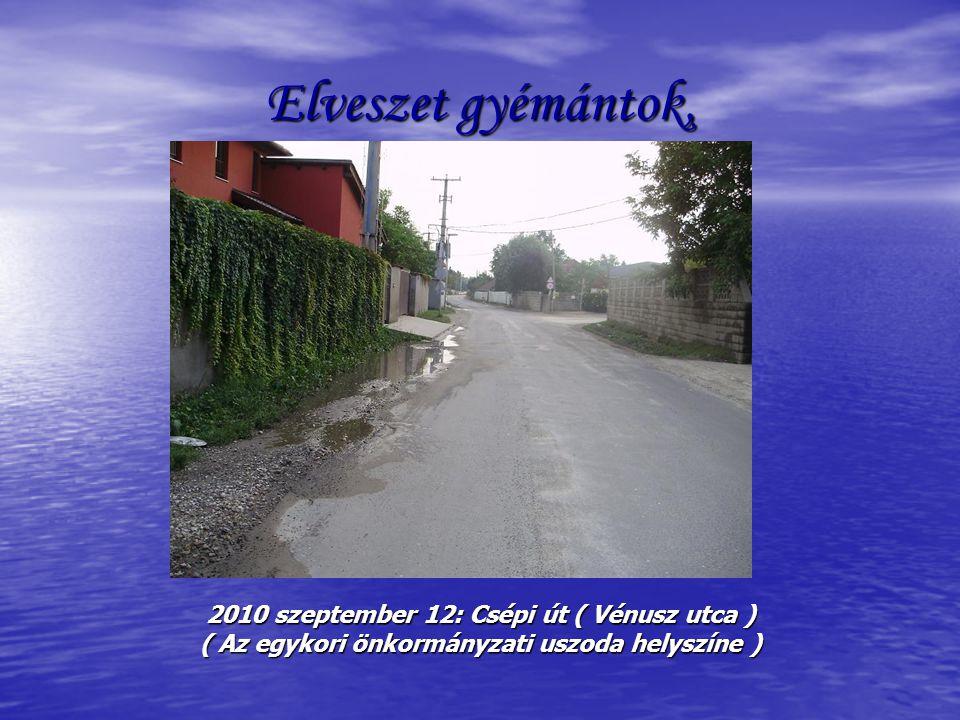 Elveszet gyémántok, 2010 szeptember 12: Csépi út ( Vénusz utca ) ( Az egykori önkormányzati uszoda helyszíne )