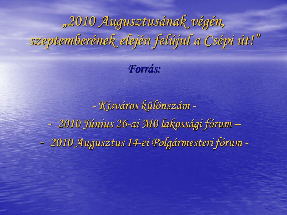 """""""2010 Augusztusának végén, szeptemberének elején felújul a Csépi út! Forrás: - Kisváros különszám - - 2010 Június 26-ai M0 lakossági fórum – - 2010 Augusztus 14-ei Polgármesteri fórum -"""