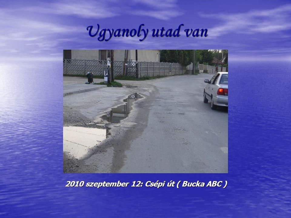 Ugyanoly utad van 2010 szeptember 12: Csépi út ( Bucka ABC )